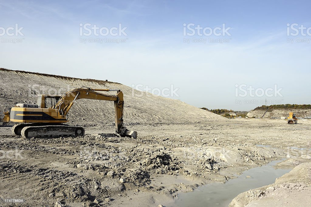 Earth Mover in a Chalk Open-pit Mine royalty-free stock photo