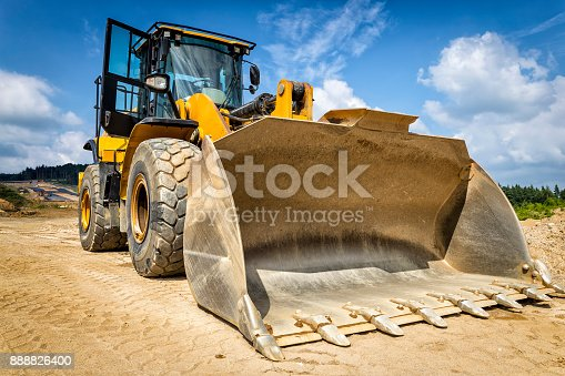 Earth mover in a new highway construction S3, Legnica, Poland