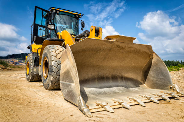 earth mover in a new highway construction s3, poland - construction equipment stock photos and pictures