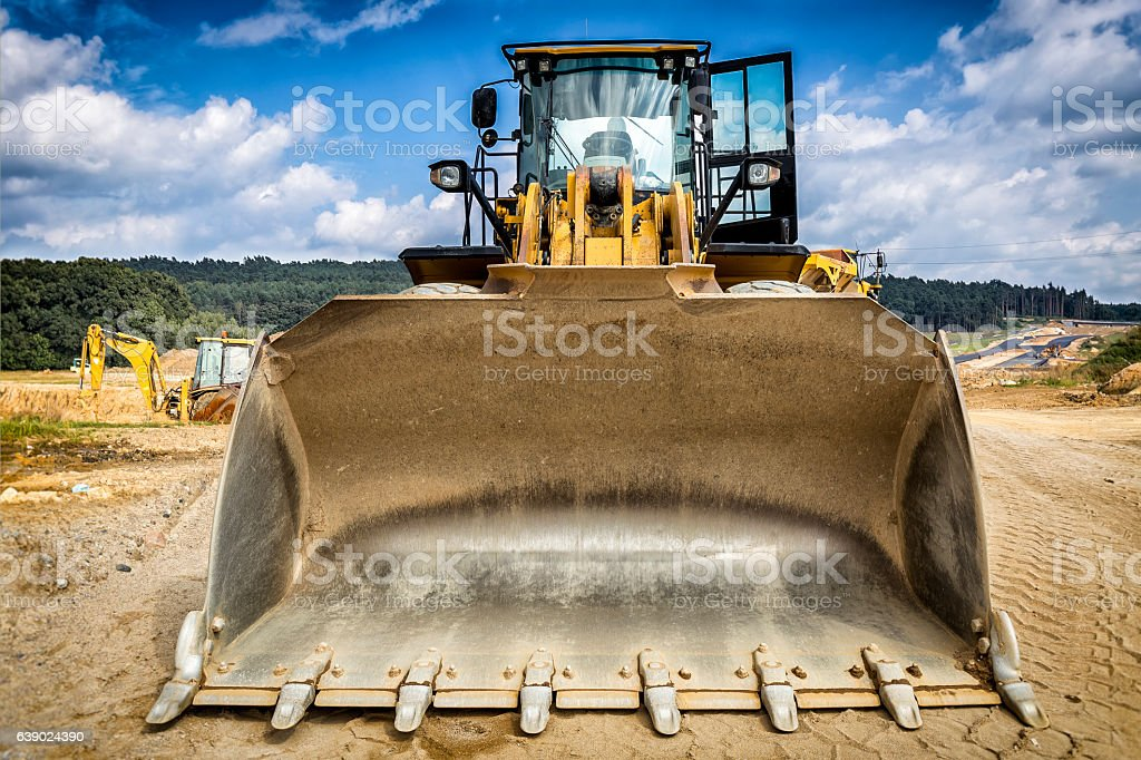 Earth mover in highway construction S3, Poland stock photo