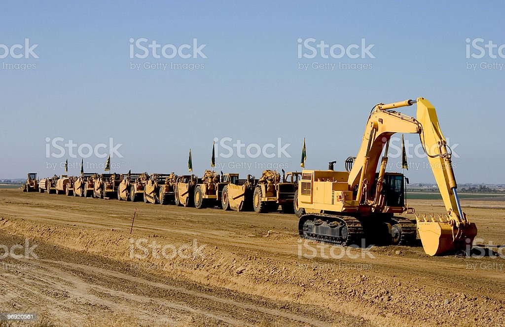 Earth Movers on Parade royalty-free stock photo