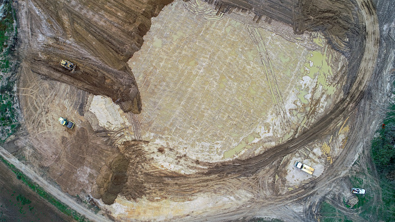 Earth works creating a new housing estate as seen from above