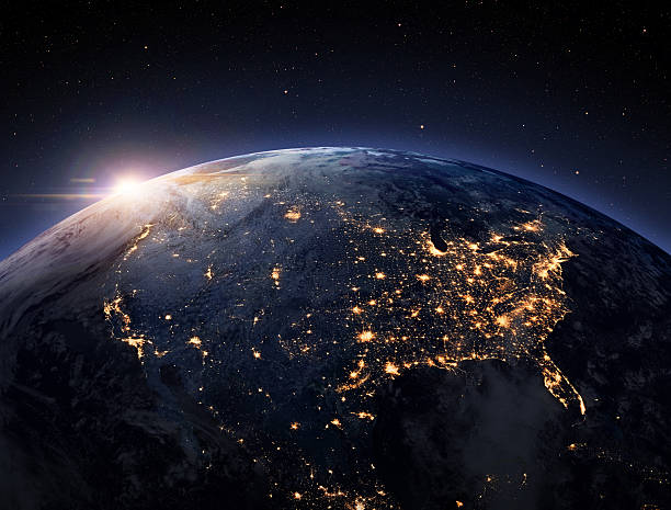 Earth night space Earth night from space. USA view. satellite view stock pictures, royalty-free photos & images
