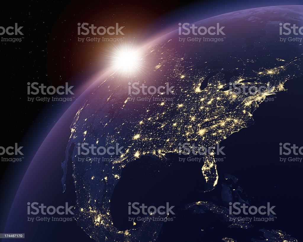 Earth nightlights, USA in focus stock photo