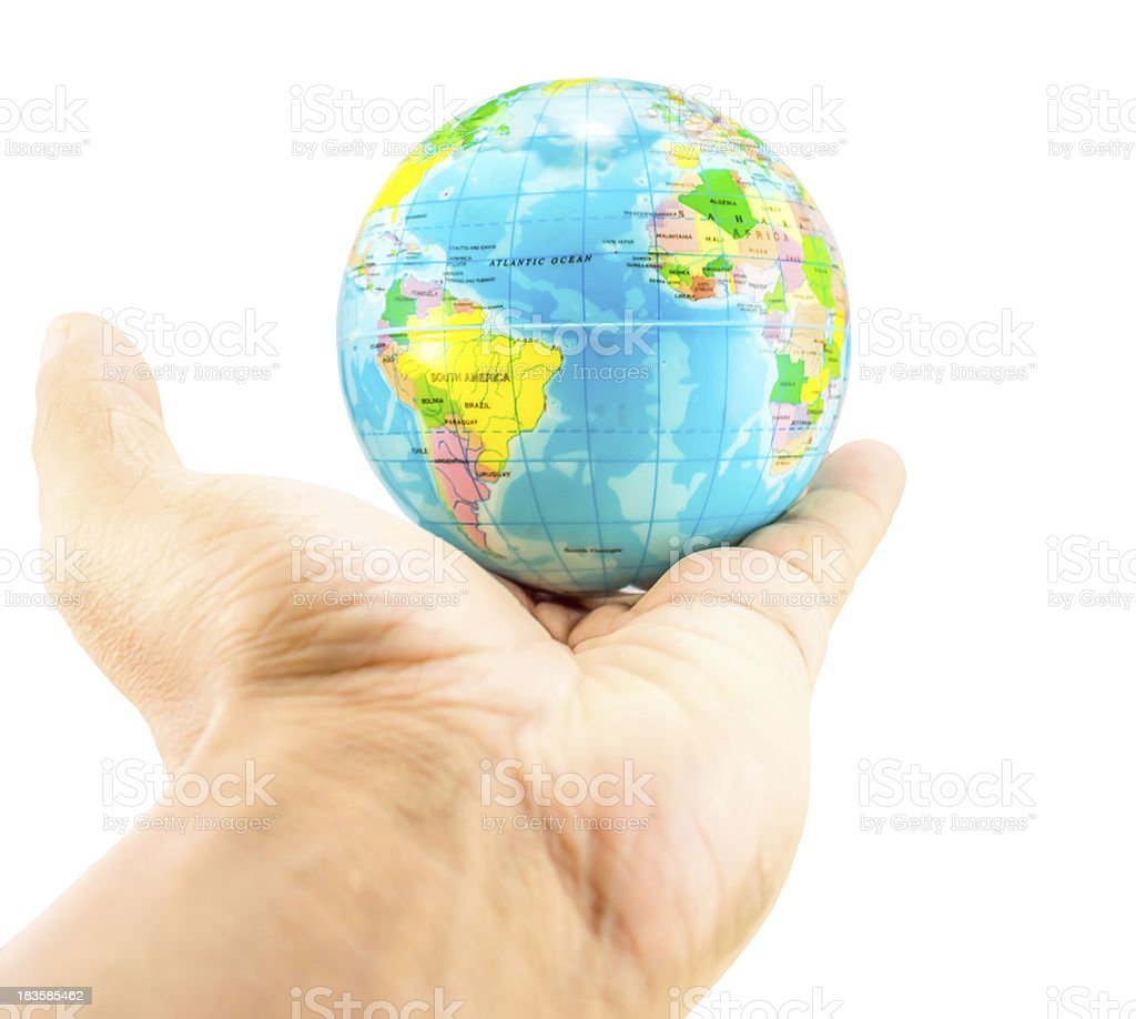 earth on hand stock photo
