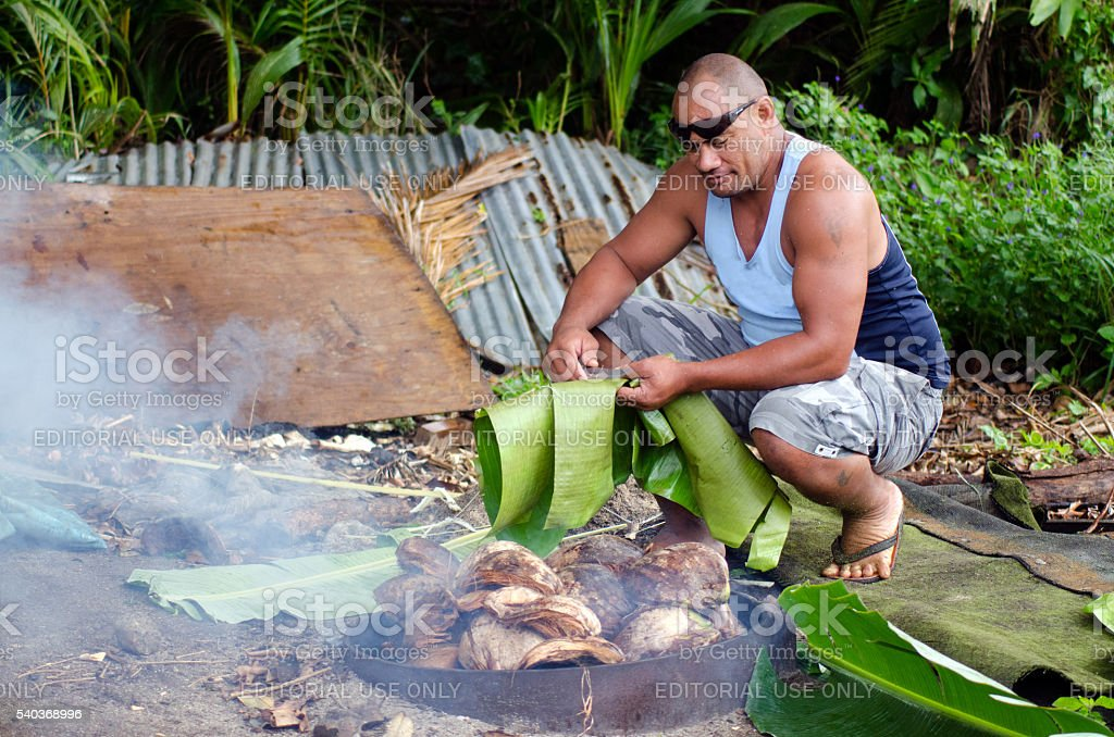 Earth Oven - Pacific Island stock photo