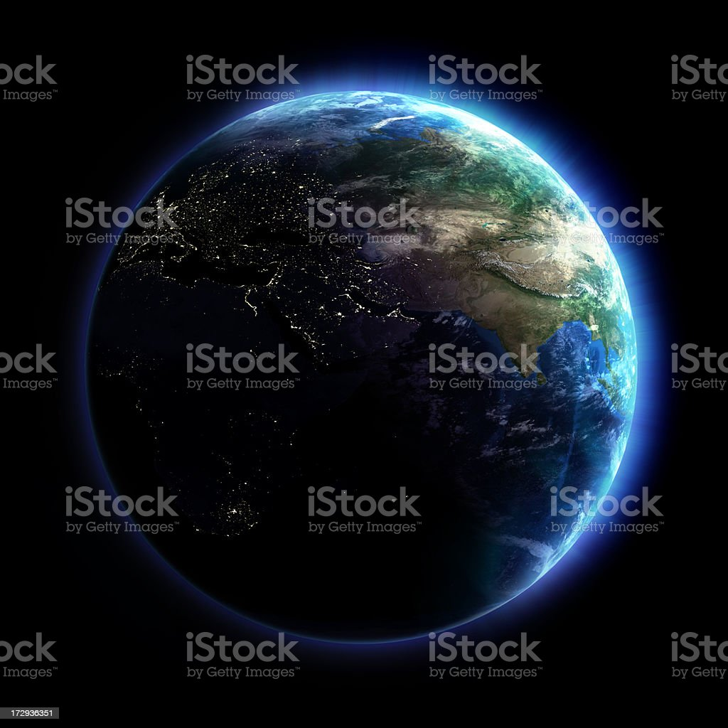 earth 3d illustration with city lights on Black Background Stock Photo