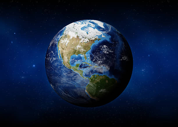 Earth (USA View) 3D render of Planet Earth with  clouds cover.Earth map and clouds map from http://visibleearth.nasa.gov satellite view stock pictures, royalty-free photos & images