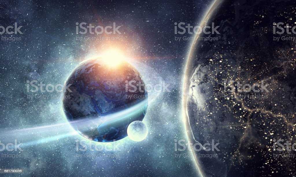 Earth planet and galaxy stock photo