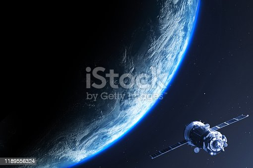 Background showing the Earth planet viewed from space with satellite , the element of this image are provided by Nasa and 3d generated