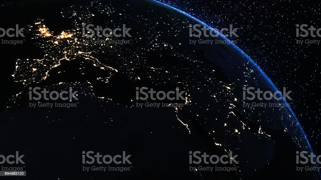 Earth planet at night stock photo