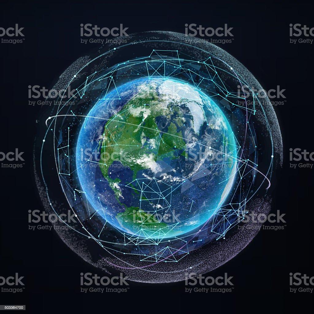 Ziemia Planeta świecie Sieci Komunikacyjnych Nawigacji Satelitarnej