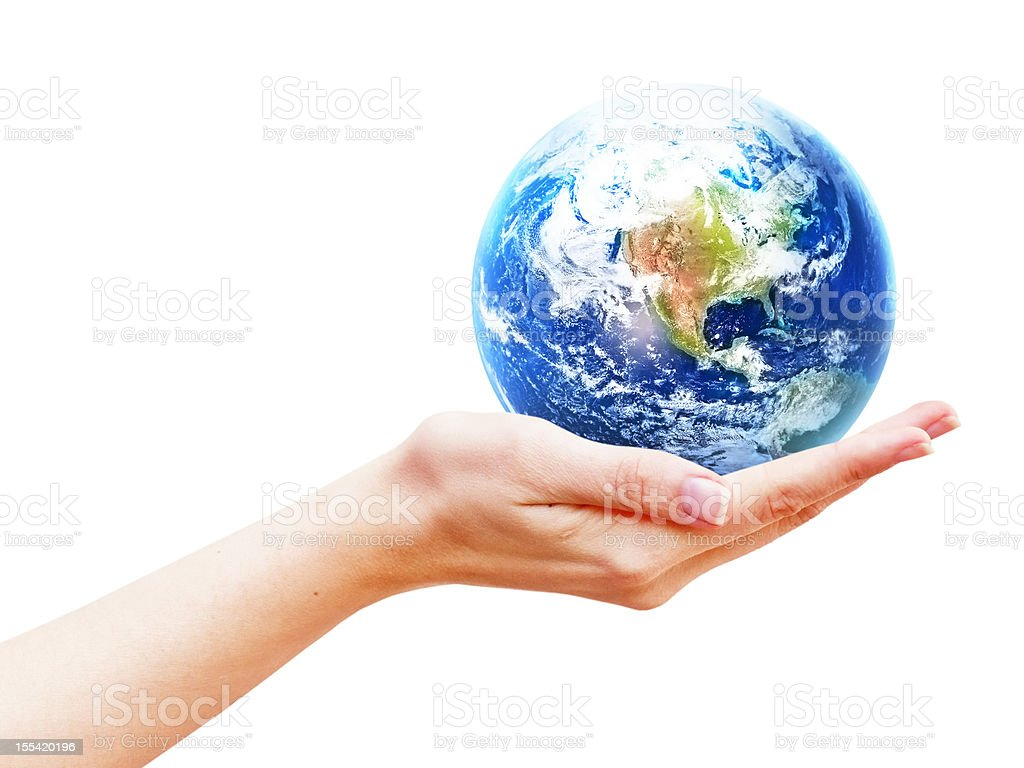 Earth planet in hand stock photo