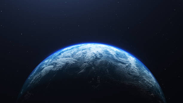 earth planet viewed from space , 3d render of planet earth. - space foto e immagini stock