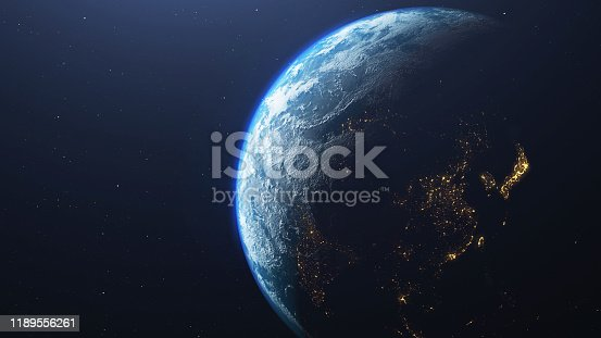 istock Earth planet viewed from space , 3d render of planet Earth. 1189556261