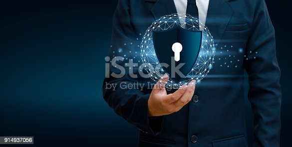 istock Earth polygon mesh planet World Businessmen shake hands to protect information in cyberspace. Businessman holding shield protect icon protection network security computer and safe your data concept 914937056