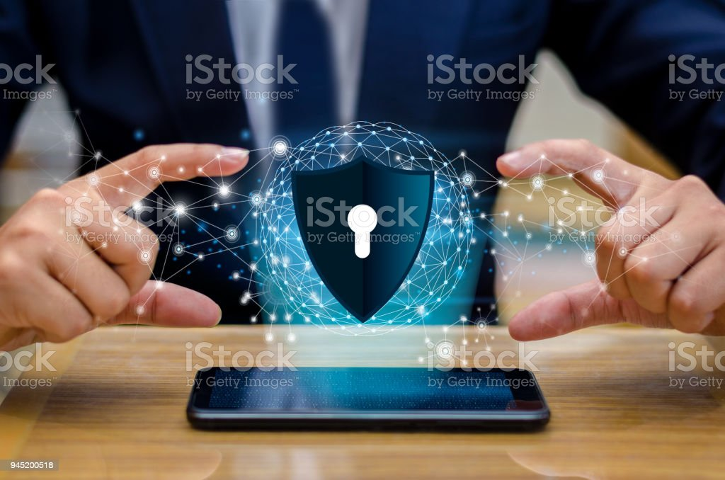Earth polygon mesh planet World Businessmen shake hands to protect information in cyberspace. Businessman holding shield protect icon protection network security computer and safe your data concept stock photo