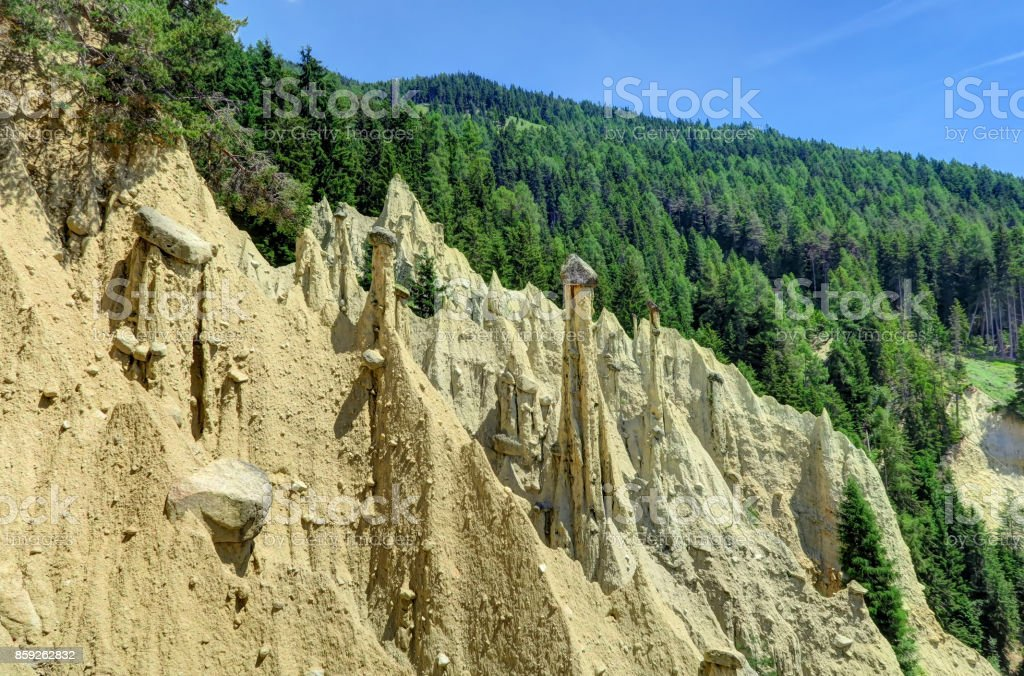 Earth pyramids in South Tyrol, Italy stock photo