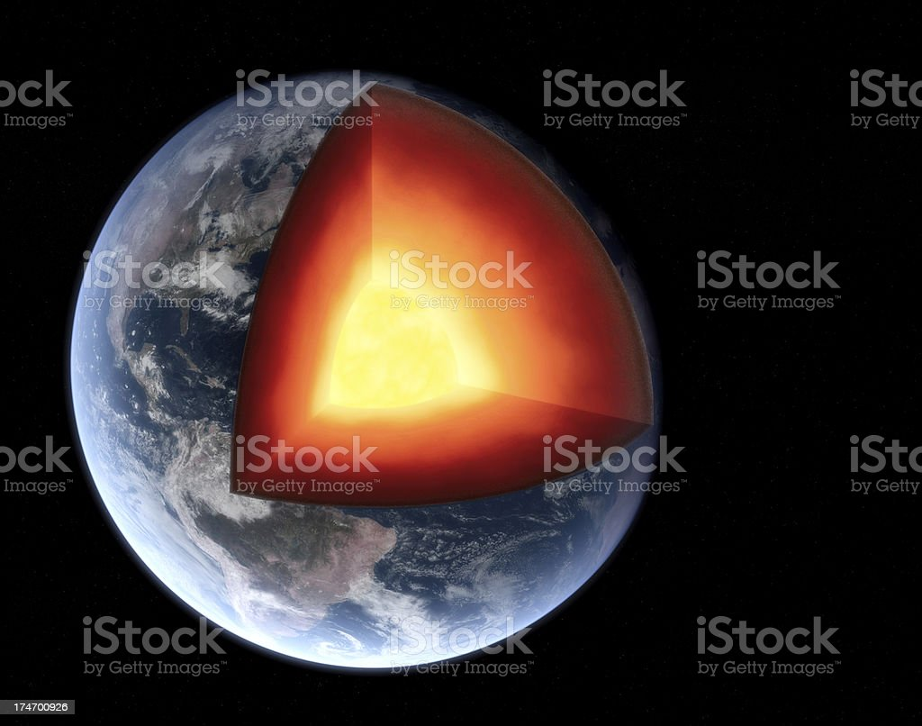Earth Section Royalty free 3d rendering of a photorealistic earth with a slice cut out. Realistic illustration with visible core. Astronomy Stock Photo