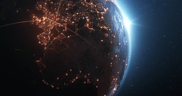 Earth Seen From Space With Glowing Connection Lines - Technology, Global Communications, Flight Routes, Big Data stock photo