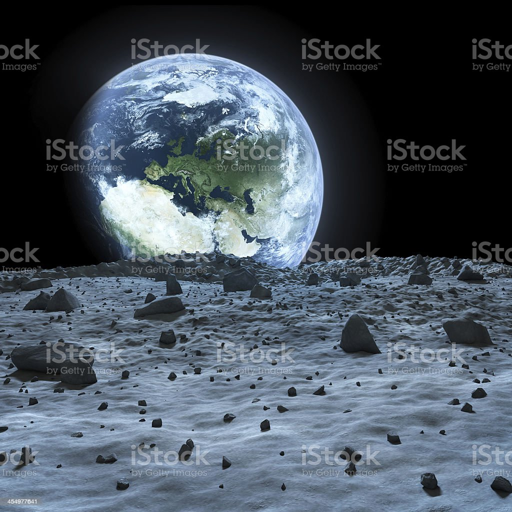 Earth seen from the moon. stock photo