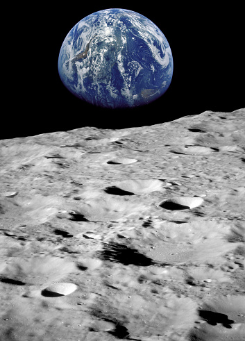 Earth seen from the moon.(Some graphics in this image is provided by NASA and can be found at http://visibleearth.nasa.gov and http://grin.hq.nasa.gov