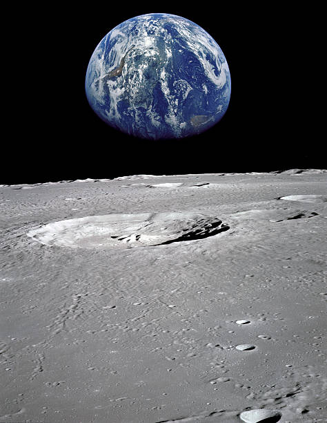earth seen from the moon - moon stockfoto's en -beelden
