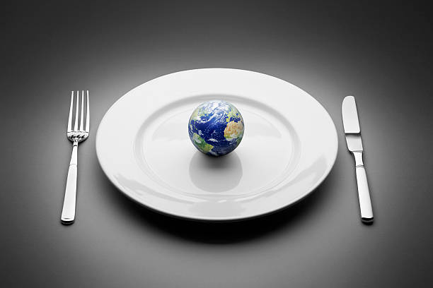 Earth served on plate. Food Globe Planet World Restaurant stock photo