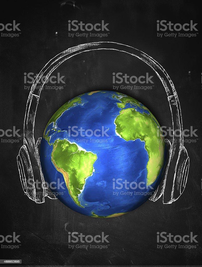 Earth Sketch Headphone music Background stock photo