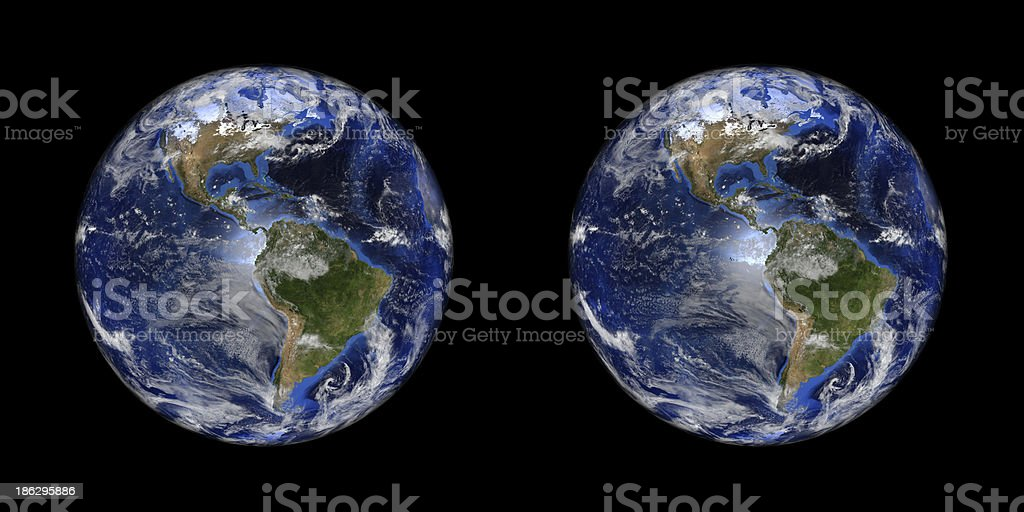 Earth Stereo Pair Isolated On Black Stock Photo Download Image Now Istock