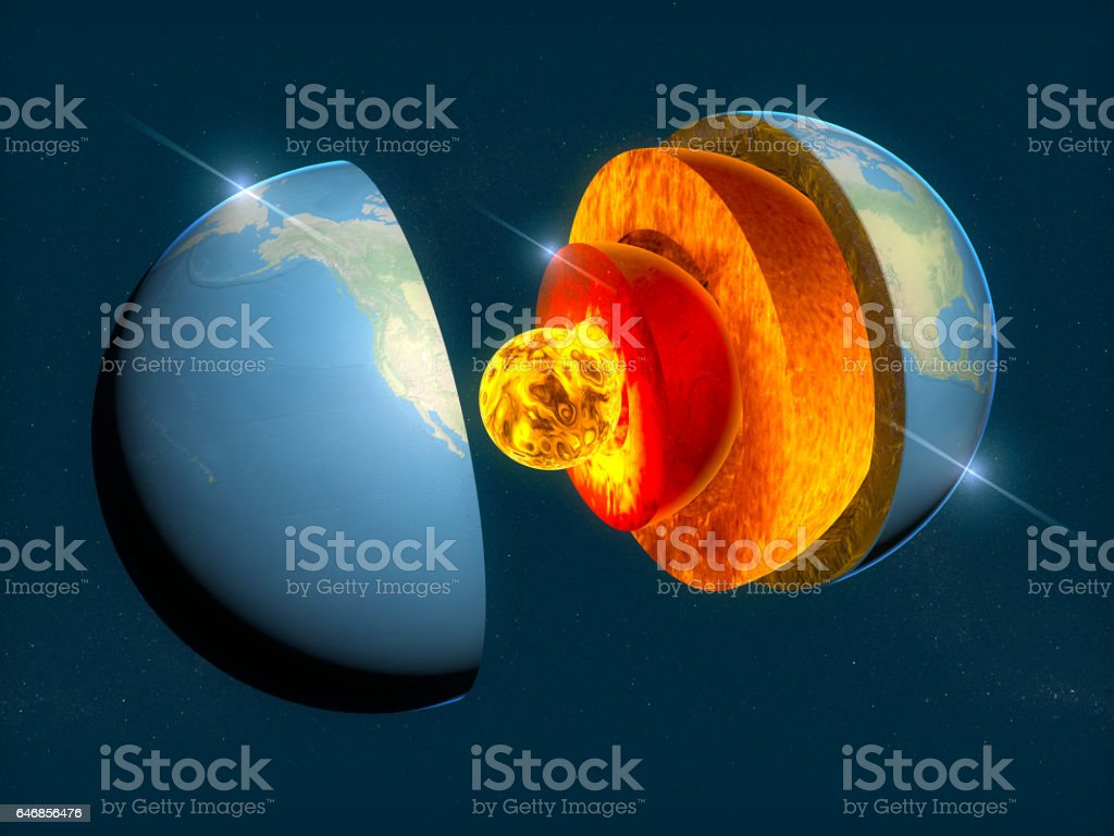 Erde-Struktur, Aufteilung in Schichten, die Erdkruste und Kern. 3D-Rendering – Foto