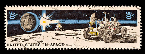Earth, Sun, Landing Craft, Lunar Rover and Astronauts Moon Stamp United States Stamp of Earth, Sun, Landing Craft, Lunar Rover and Astronauts on the Moon. Issued 1971 rover stock pictures, royalty-free photos & images