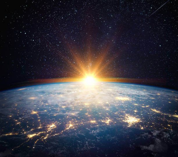 Earth, sun, star and galaxy. stock photo
