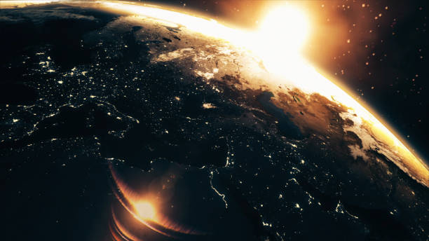 zonsopgang van de aarde vanuit de ruimte - new world stockfoto's en -beelden