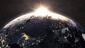 Earth sunrise.\n\nMap sources:\nhttps://visibleearth.nasa.gov/view.php?id=73909\nhttps://eoimages.gsfc.nasa.gov/images/imagerecords/73000/73909/world.topo.bathy.200412.3x21600x10800.jpg\n\nhttps://visibleearth.nasa.gov/view.php?id=79765\nhttps://eoimages.gsfc.nasa.gov/images/imagerecords/79000/79765/dnb_land_ocean_ice.2012.13500x6750.jpg