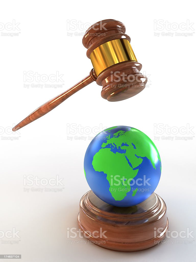 Earth under the hammer (Clipping path included) royalty-free stock photo