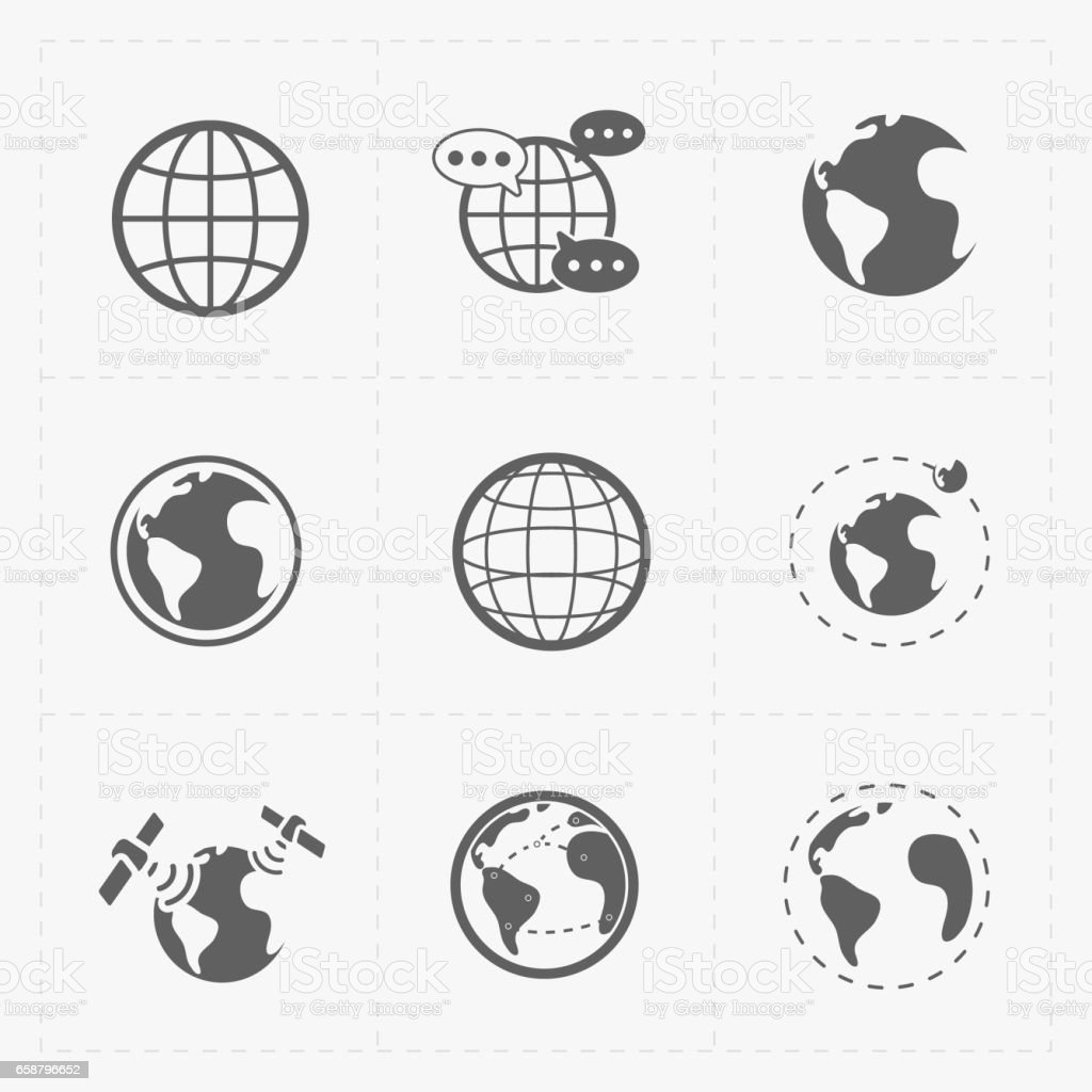 Earth vector icons set on white background. stock photo