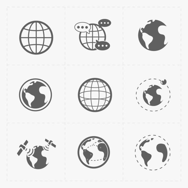 earth vector icons set on white background. - icon stock pictures, royalty-free photos & images