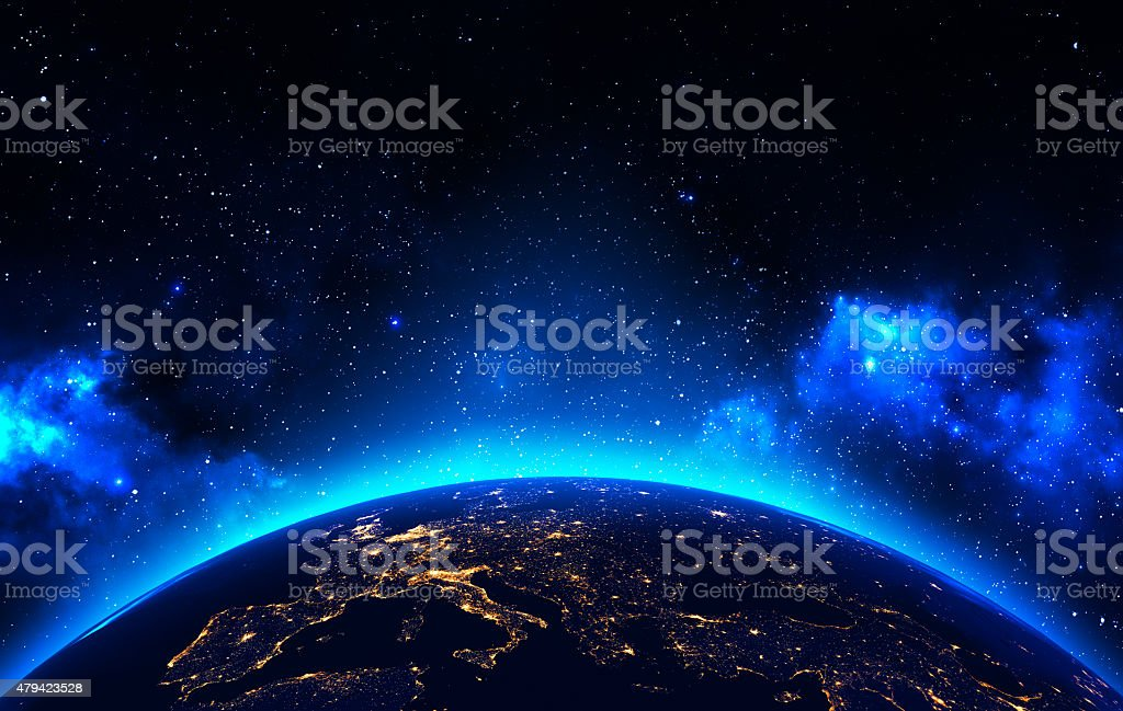 Earth view from outer space background stock photo