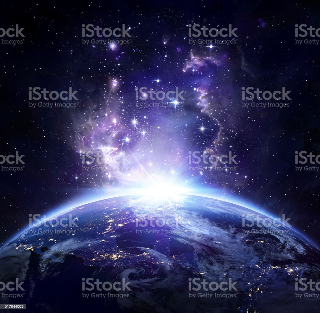 Earth view from space at night -  USA stock photo