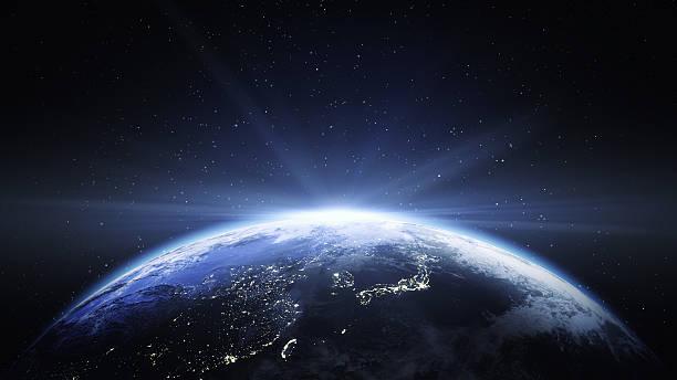 アースからの眺めスペースに中国と日本 - 地球 ストックフォトと画像