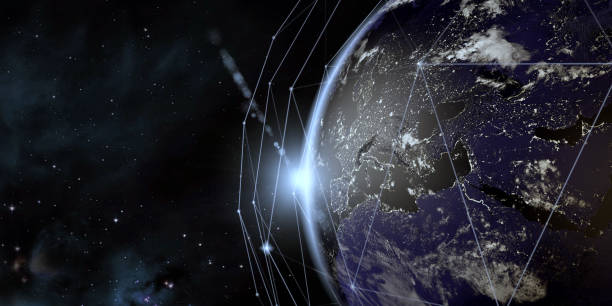 Earth View From Space With Global Communication Network Earth globe view from space at night with global communication network. All the world map textures are originally from NASA. ( 3d render )  Dear Inspectors, the information that you wanted is below: 1. Map sources Url:   -https://earthobservatory.nasa.gov/features/NightLights/page3.php (color map ) -https://visibleearth.nasa.gov/view.php?id=57747 (clouds map ) 2. The softwares I used are 3ds Max 2017 and Photoshop Cs6 3. My file was created in 24.01.2019 4. I used Color map and Clouds layers in 3ds Max. I also attached my 3ds max screen as model release. satellite view stock pictures, royalty-free photos & images