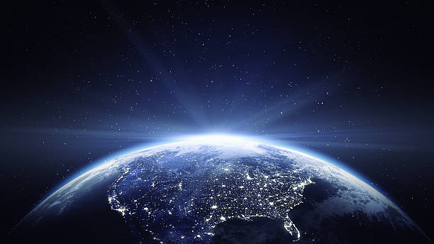 Earth View From Space With Sun Flare - North America Earth viewing from space at night with sun flare. satellite view stock pictures, royalty-free photos & images