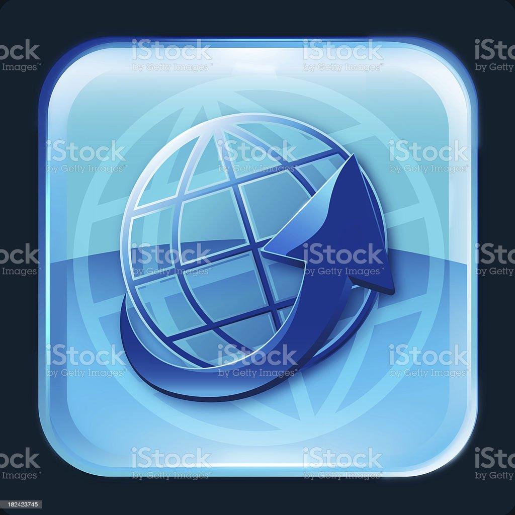earth with arrow symbol icon stock photo