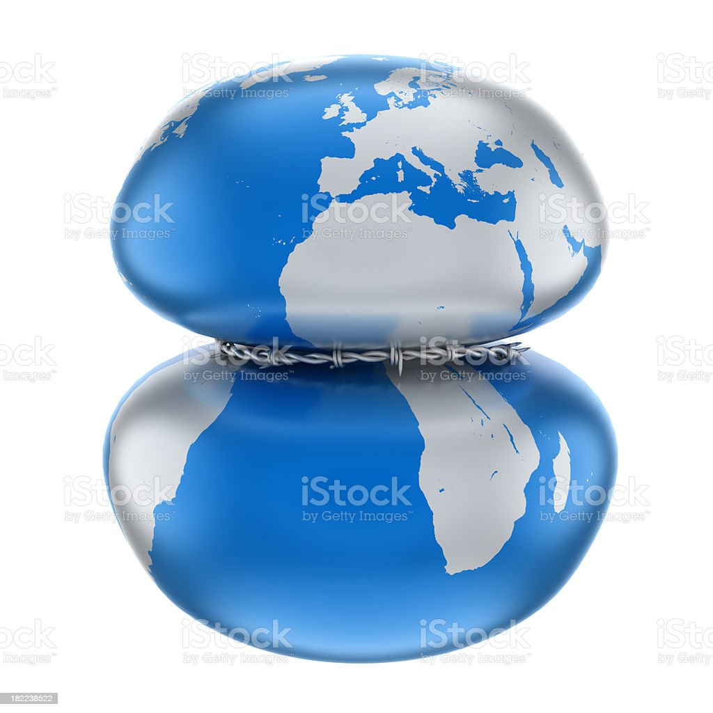 Earth with barbed wire, clipping path royalty-free stock photo