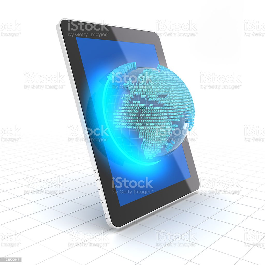 Earth with binary code on a tablet royalty-free stock photo