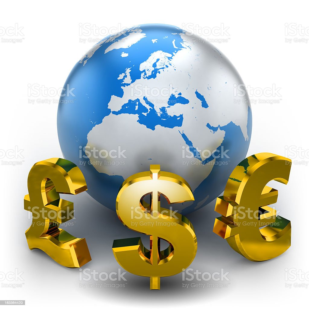 Earth with currency symbols - isolated w. clipping path royalty-free stock photo