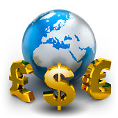 Earth with currency symbols - isolated on white with clipping path