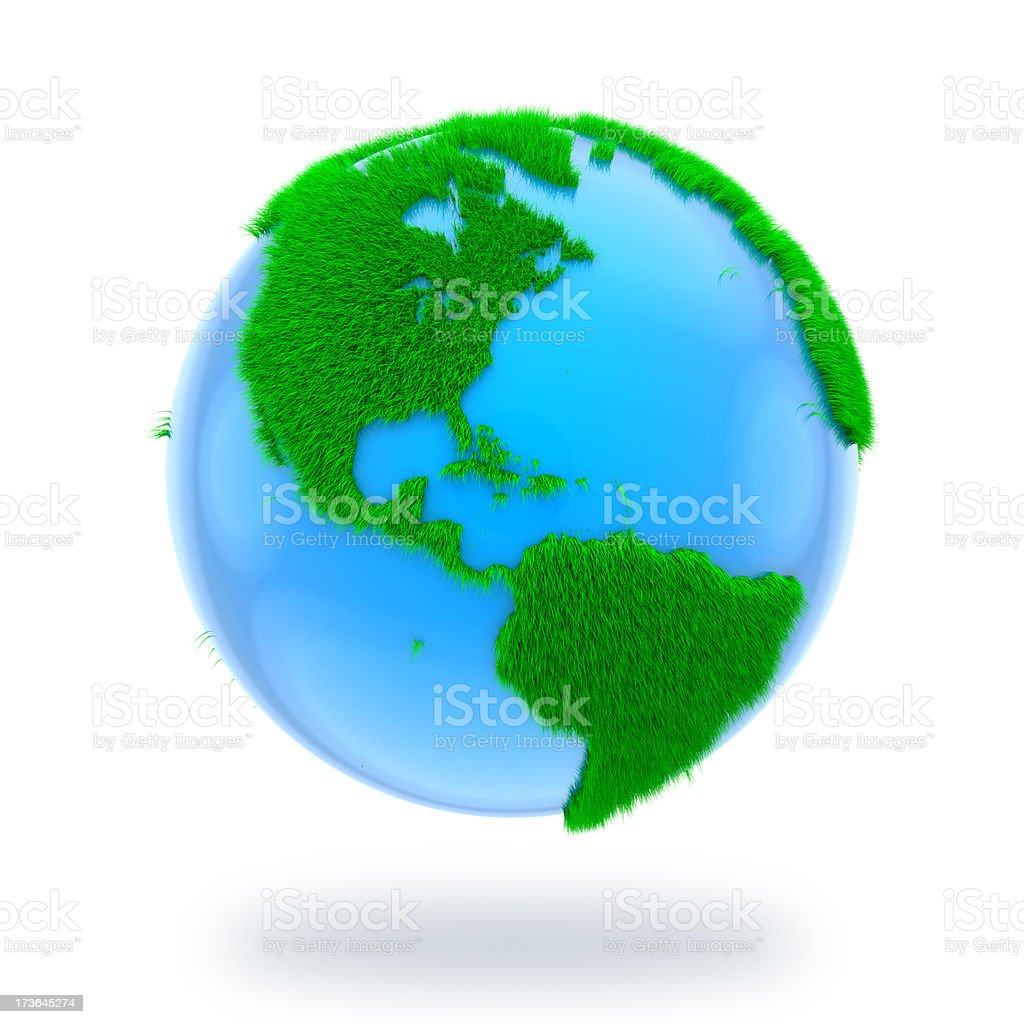 Earth with grass on continents royalty-free stock photo