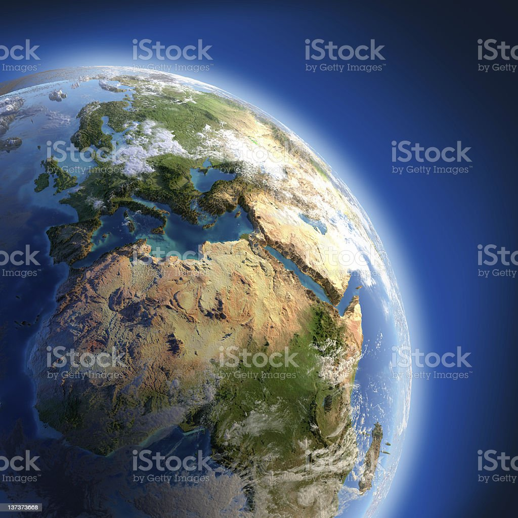 Earth with high relief, illuminated by the sun royalty-free stock photo